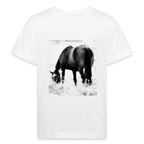 Økologisk t-skjorte med heste-bilde. - Økologisk T-skjorte for barn