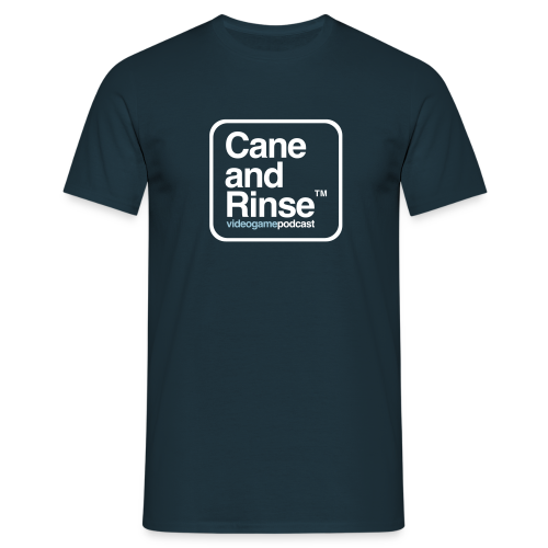 Navy Cane and Rinse boxed logo - Men's T-Shirt