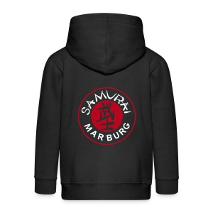 Kinder Kapuzenjacke schwarz Logo mehrfarbig - Kinder Premium Kapuzenjacke