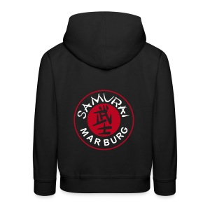 Kinder Kapuzenpulli schwarz Logo mehrfarbig - Kinder Premium Hoodie