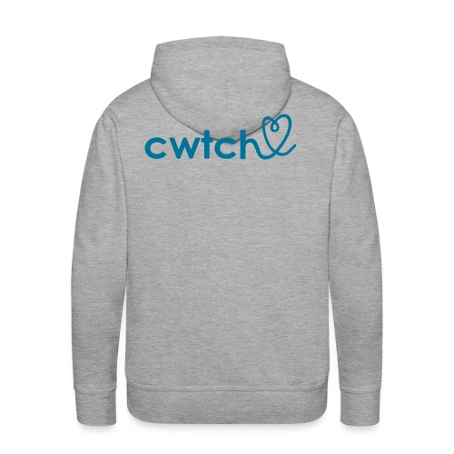 Cwtch with heart hoodie rear print.. one of our new favourites - Men's Premium Hoodie