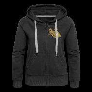 Pullover & Hoodies ~ Frauen Premium Kapuzenjacke ~ Kiffender, goldener Wolf - Frauen Kaputzenpullover