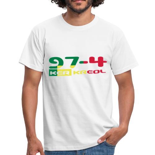 T-shirt Homme écriture 974 Ker Kreol Rasta - La Reunion - T-shirt Homme