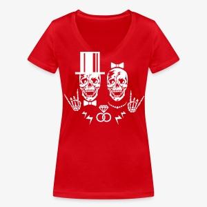 01 Skulls Braut Bräutigam Brautpaar Hochzeit JGA T-Shirt - Frauen Bio-T-Shirt mit V-Ausschnitt von Stanley & Stella