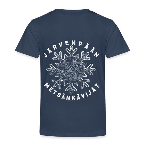 Lasten tummansininen t-paita selkäpainatuksella - Lasten premium t-paita