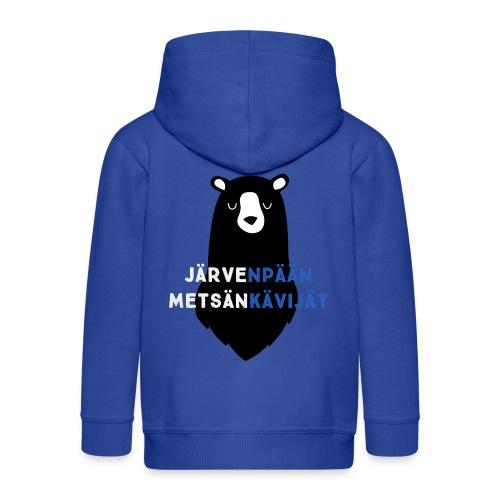Lasten sininen huppari nalle-logolla ja vetoketjulla - Lasten premium hupparitakki