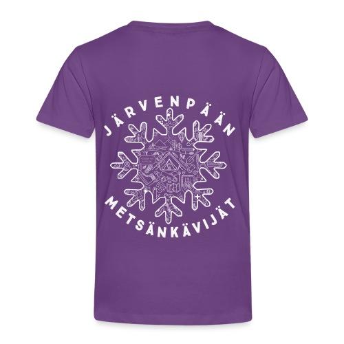 Lasten violetti t-paita selkäpainatuksella - Lasten premium t-paita