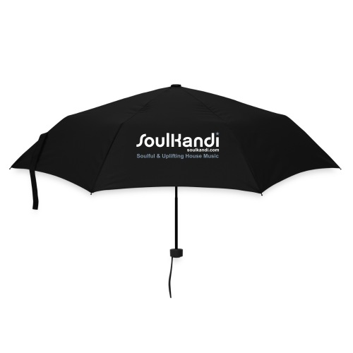Black Compact Umbrella with White & Silver Print on 2 sides - Umbrella (small)