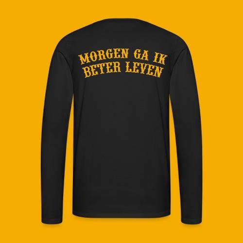 Heren Lange Mouw - Voor & Achter - Mannen Premium shirt met lange mouwen