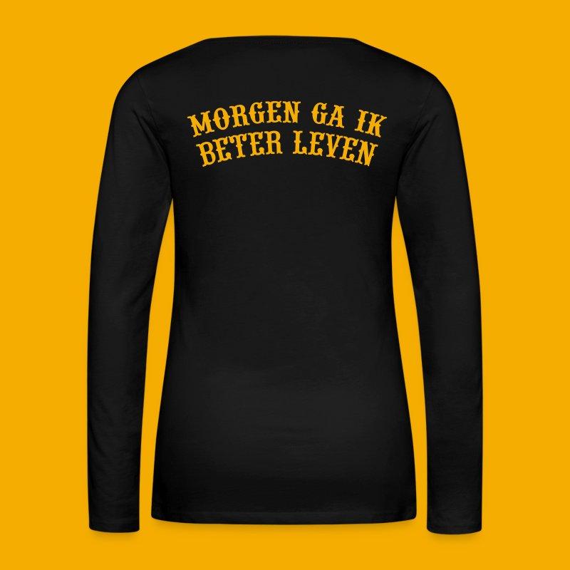 Dames Lange Mouw - Voor & Achter - Vrouwen Premium shirt met lange mouwen