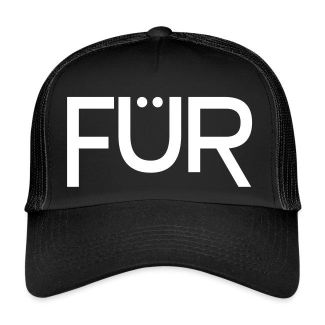 FÜR Magazine Trucker Cap White On Black
