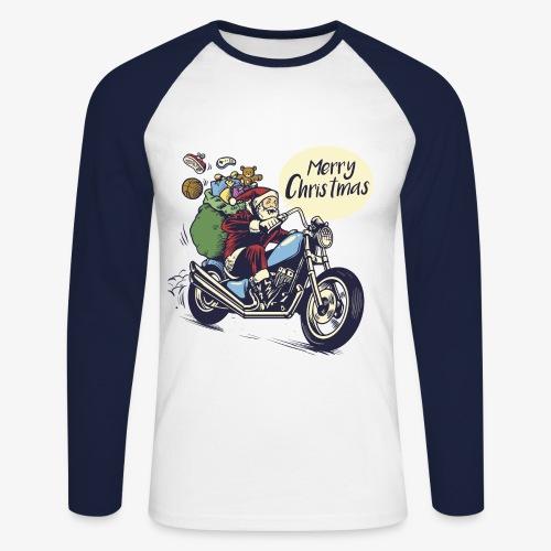 Santa Motorbike Mens Longsleeve shirt - Men's Long Sleeve Baseball T-Shirt
