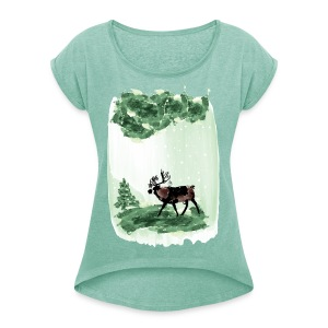 Reindeer in snowy forest Women's T-shirt with rolled up sleeves - Women's T-shirt with rolled up sleeves