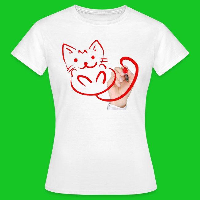 Teken je eigen poes dames t-shirt
