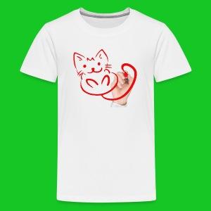 Teken je eigen poes teenager t-shirt - Teenager Premium T-shirt