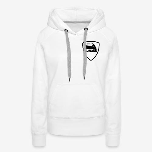 Motorsport White Sweat Shirt Black Shield - Sweat-shirt à capuche Premium pour femmes