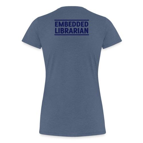 damen-t-shirt blau-meliert mit blauem flock-druck - Frauen Premium T-Shirt