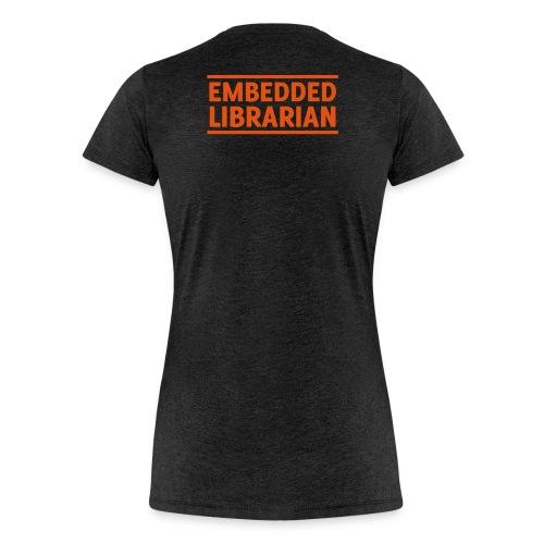 damen-t-shirt anthrazit mit orangenem flock-druck - Frauen Premium T-Shirt