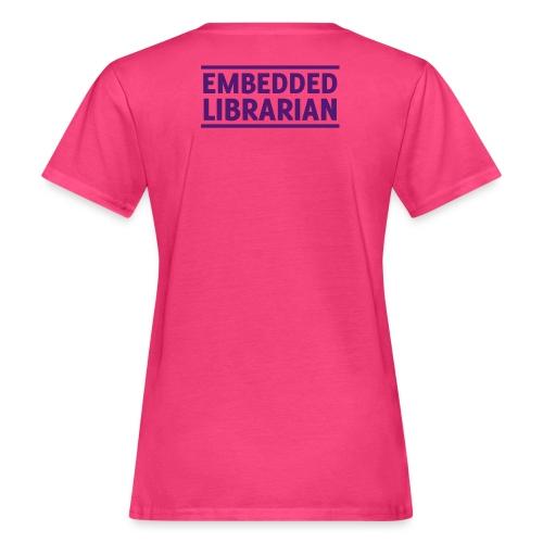 damen-t-shirt pink mit lila flock-druck - Frauen Bio-T-Shirt