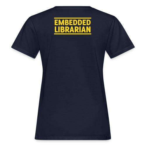 damen-t-shirt blau mit gelbem flock-druck - Frauen Bio-T-Shirt