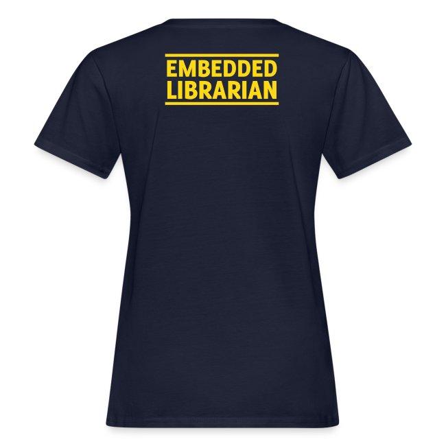damen-t-shirt blau mit gelbem flock-druck