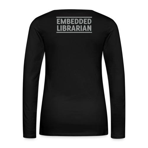 damen-langarm-shirt schwarz mit grauem flock-druck - Frauen Premium Langarmshirt