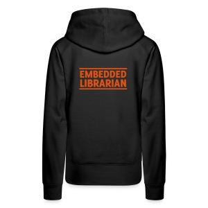 damen-hoodie schwarz mit orangenem flock-druck - Frauen Premium Hoodie