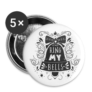 "5 x Buttons ""Ring my bells"" - Buttons mittel 32 mm"
