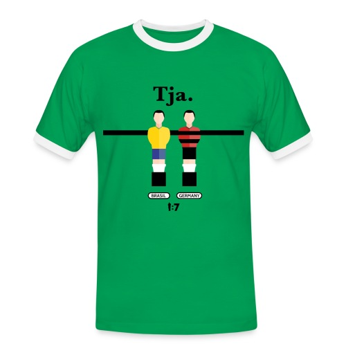 Männer Kontrast-T-Shirt - wm2018,wm2014,wm,weltmeister,fussballweltmeisterschaft,fussballweltmeister,fussballer,fussball-fan,fussball wm,fussball,einszusieben,deutschland,Mannschaft,Brasilien,1zu7