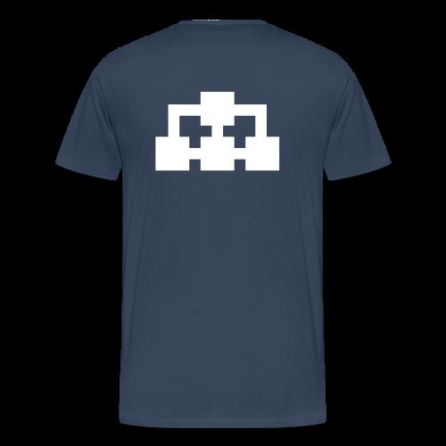 T-shirt marinblå (vit ikon fram & bak) - Premium-T-shirt herr