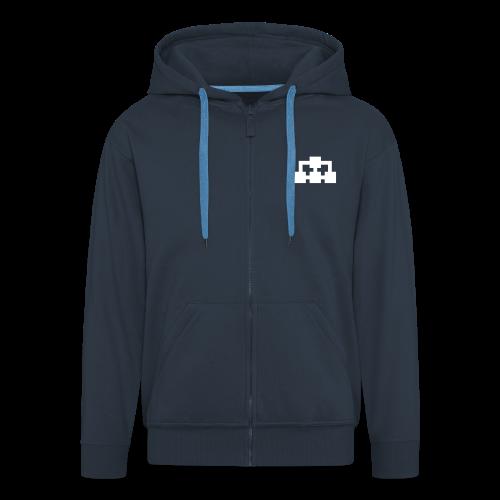Hoodie (marinblå vit+grön ikon) - Premium-Luvjacka herr