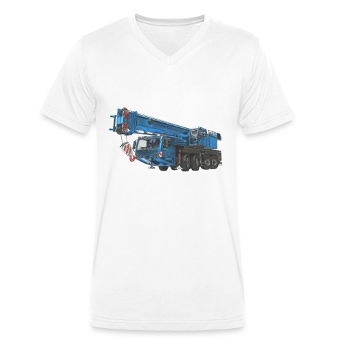 Mobile Crane 4-axle - Blue - Men's Organic V-Neck T-Shirt by Stanley & Stella