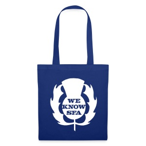 We Know SFA Thisle - WhitePrint on Blue Tote - Tote Bag
