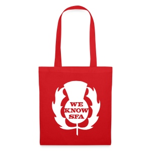 We Know SFA Thisle - WhitePrint on Red Tote - Tote Bag