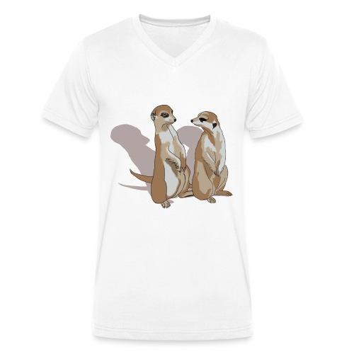 zwei Erdmännchen mit Schatten - Männer Bio-T-Shirt mit V-Ausschnitt von Stanley & Stella