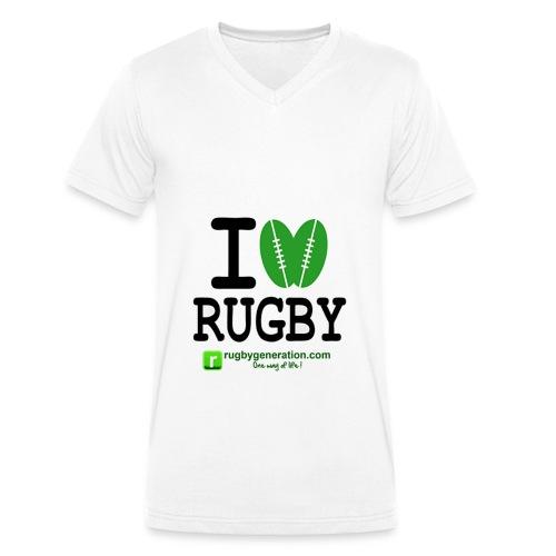 Tee-shirt col V Homme I Love Rugby - T-shirt bio col V Stanley & Stella Homme
