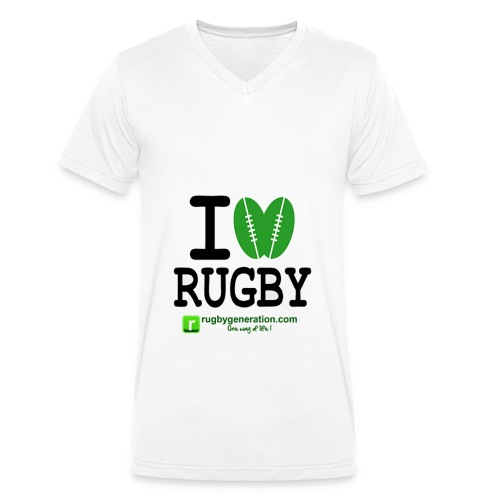 Tee-shirt col V Homme I Love Rugby - T-shirt bio col V Stanley & Stella Homme
