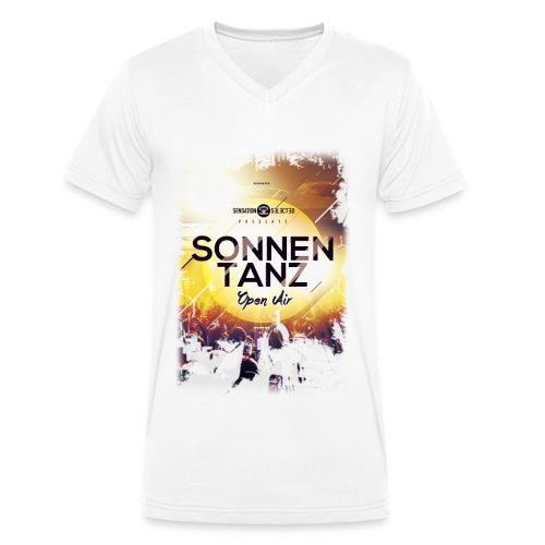 Männer Sonnentanz Open Air V-Neck Shirt, weiß - Männer Bio-T-Shirt mit V-Ausschnitt von Stanley & Stella