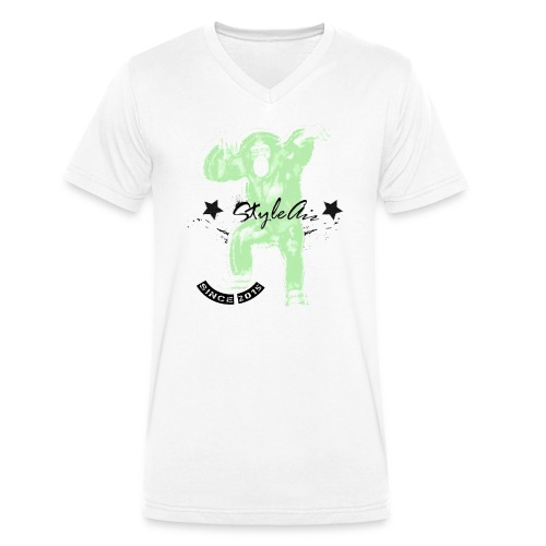 Affe Tanz neon - Männer Bio-T-Shirt mit V-Ausschnitt von Stanley & Stella