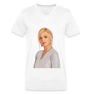 Koningin Máxima - Mannen bio T-shirt met V-hals van Stanley & Stella