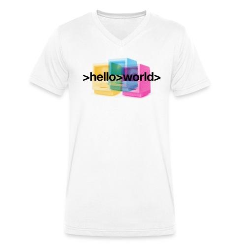 Ferry Corsten 'Hello World' V-neck Men - Men's Organic V-Neck T-Shirt by Stanley & Stella