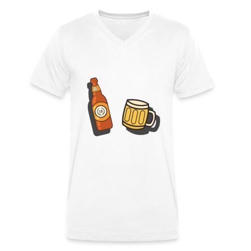 """€B T-Shirt """"Bier & Krug"""" - Männer Bio-T-Shirt mit V-Ausschnitt von Stanley & Stella"""