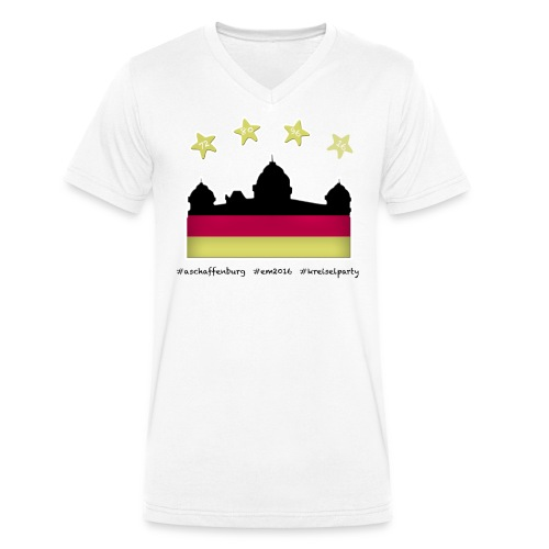 """Fanshirt EM 2016 """"Aschaffenburg"""" - Herren, T-Shirt, V-Neck, weiß - Männer Bio-T-Shirt mit V-Ausschnitt von Stanley & Stella"""