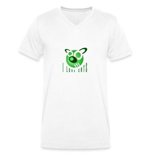 Men's V-Neck T-Shirt - I Love Cats - Men's Organic V-Neck T-Shirt by Stanley & Stella