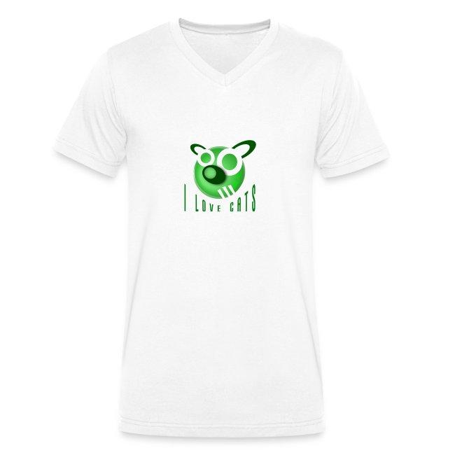 Men's V-Neck T-Shirt - I Love Cats
