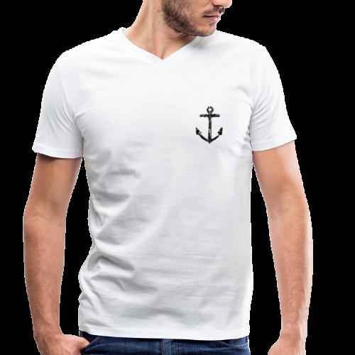 Anker Vintage (Schwarz) V-Neck - Männer Bio-T-Shirt mit V-Ausschnitt von Stanley & Stella