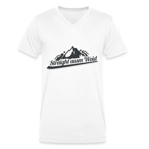 Straight ausm Woid | Weiß - V Ausschnitt - Männer Bio-T-Shirt mit V-Ausschnitt von Stanley & Stella