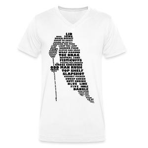 Hockey Player Typography Men's V-Neck T-Shirt - Men's Organic V-Neck T-Shirt by Stanley & Stella
