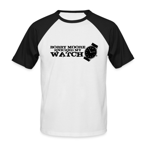 Bobby Moore Knicked my Watch - Print on White Baseball T with Black Sleeves - Men's Baseball T-Shirt