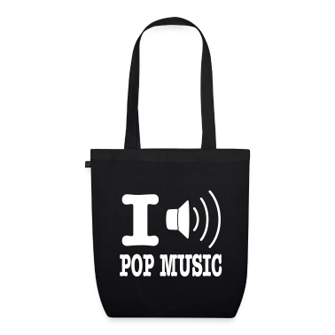Black i love pop music Bags
